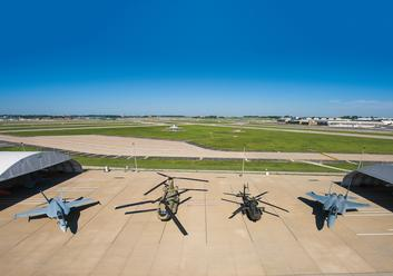 Super Hornet, Chinook, Apache, and Eagle on St. Louis Flight Ramp, 2015