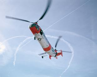 Vertol H-21B Shawnee Tandem Rotor Helicopter in Flight